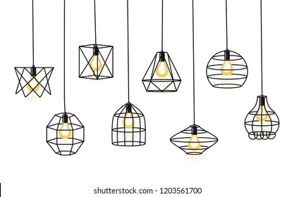 Set of different geometric loft lamps and iron lampshade. Industrial style. Set of vintage chandelier and pendant lamps.