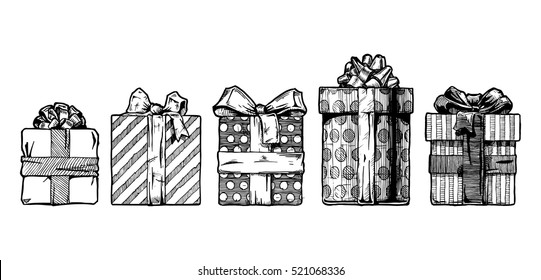 set of different gift boxes. Vector illustration in ink hand drawn style.