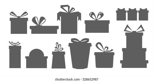 set of different gift boxes.Silhouettes of gift boxes.