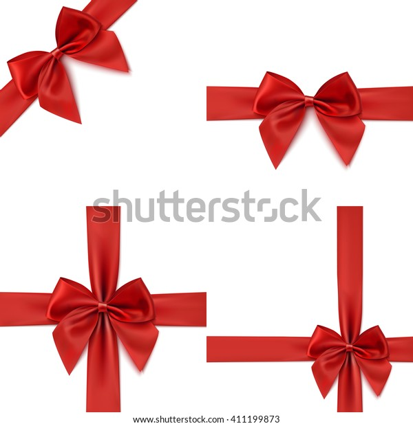 Set with different gift wrapping compositions of realistic red bow and ribbon isolated on white background. Vector illustration.