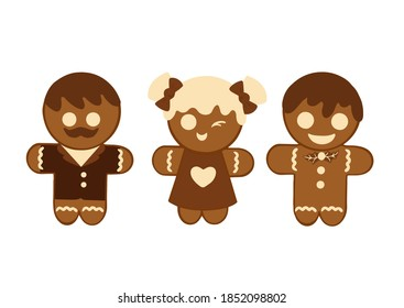 Set of different gingerbread cookies for Christmas on a white background. Vector illustration in a flat style. Decoration for christmas, winter holiday, cooking, new year's eve, food