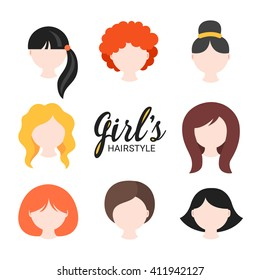 Set of different girl's hairstyle for curly, wavy, short, medium and long hair. Red, blonde, brunette and black hair. Perfect for avatars, web site icons, beauty salon prints. Vector illustration