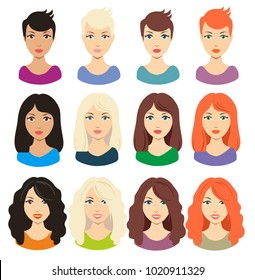Set of different girl's hairstyle for medium and long hair. Red, blonde, brunette and black hair. Perfect for avatars, web site icons, beauty salon prints. Vector illustration