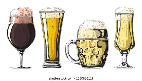 Set of different glasses with beer, different mugs of beer. Vector illustration of a sketch style.