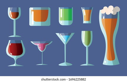 Set of different glasses in various shapes with alcoholic drinks. Vector illustration in a flat cartoon style.
