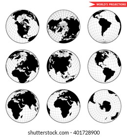 Set of different globe hemishpere. World view from space icon.
