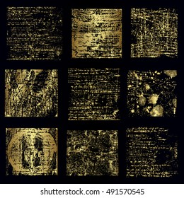 Set of different gold frames vector