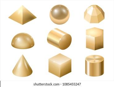 Set of different gold metal shapes and forms. Vector graphics