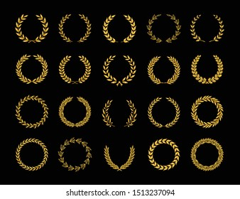 Set of different golden silhouette laurel foliate, oak and olive wreaths depicting an award, achievement, heraldry, emblem, nobility, game dev. Vector illustration.
