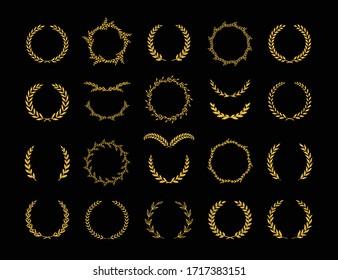 Set of different golden silhouette laurel foliate and olive wreaths depicting an award, achievement, heraldry, nobility, emblem, logo. Vector illustration.