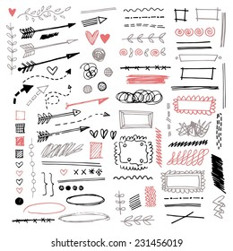 Set of different graphic elements in doodle style. Vector hand-drawn elements - arrows and stripes, underscore lines, floral ornament, hearts, separation, strokes and other symbols