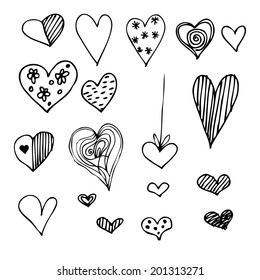 set of different graphic hearts, vector