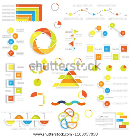 set different graphs charts templates web stock vector royalty free