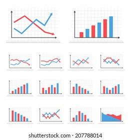 Set of different graphs on white background, vector eps10 illustration