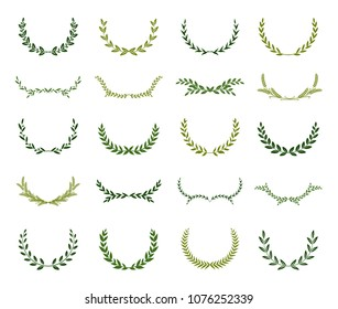 Set of different green silhouette laurel foliate wreaths depicting an award, achievement, heraldry, nobility. Vector illustration.