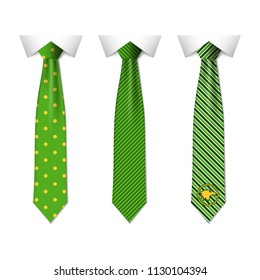 Set different green ties isolated on white background. Colored tie for men. Vector plain illustration eps10