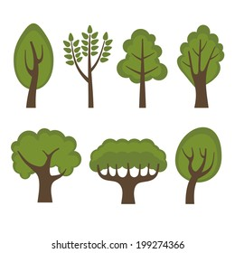 Set of Different Green Trees Cartoon Style. Vector illustration