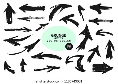 Set of different grunge brush arrows, pointers.Hand drawn paint object for use in your design.Vector illustration