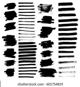 Set of different grunge brush strokes. Vector illustration.