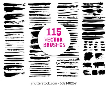Set of different grunge vector brush strokes. Variety of paint stripes. Distressed banners. Isolated paint brush set. Dry borders.