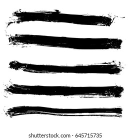 Set of different grunge vector brush strokes. Variety abstract paint stripes. Distressed banners. Isolated paint brush pack. Dry borders. Halftone paints. Large collection of hand drawn textures.