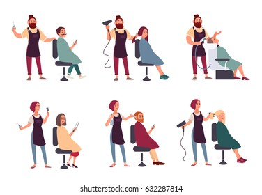 Set of different hairdresser. Trendy man and woman in barbershop, hairdressing salon. Services: makes styling, dries, washes, cuts hair and mustache collection. vector illustration in flat style.