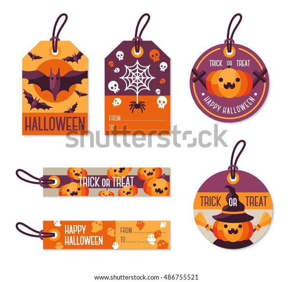 Set Different Halloween Gift Tags Vector Stock Vector Royalty Free 486755521