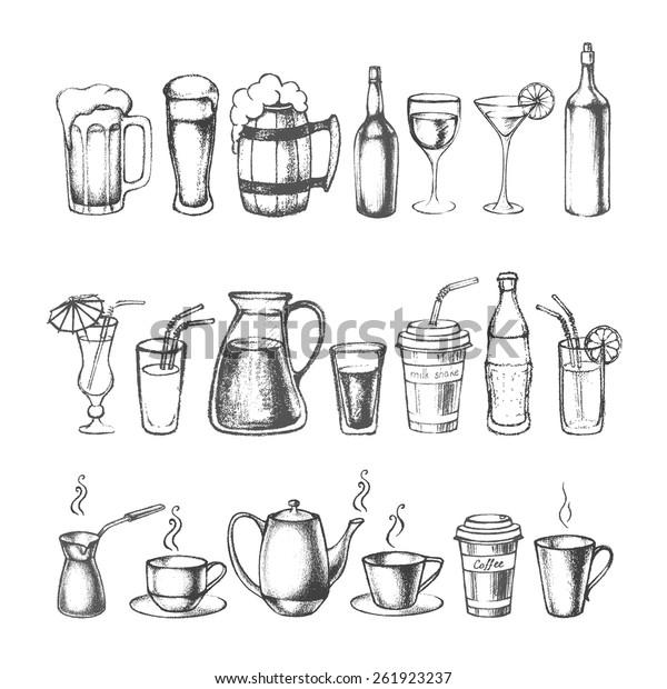 Set of different hand drawn beverages. Vector illustration.