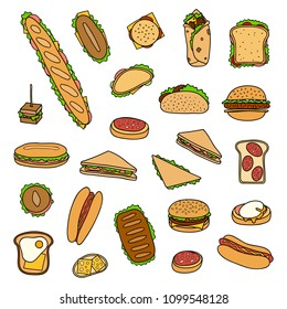 Set of different hand drawn colored sandwiches and burgers isolated on white background.