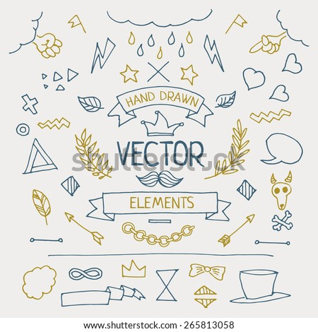 4f2392b2310 Set Different Hand Drawn Design Elements Stock Vector (Royalty Free ...