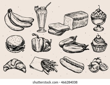 Set of different hand drawn food. Milkshake, ice cream, hamburger, cupcake, french fries, hot dog, bread, tomatoes, bananas, croissant Isolated. Vector illustration for menu, ads, packaging, banners.