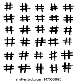 Set of different hand drawn hashtag. Hash tag backdrop. Vector illustration isolated on white background.