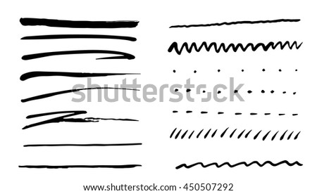 set of different hand drawn lines, dots, design elements