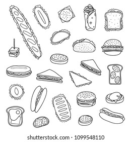 Set of different hand drawn outline sandwiches and burgers isolated on white background.