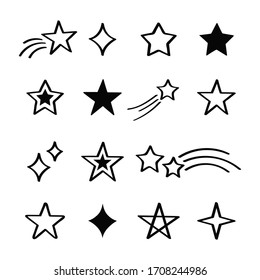 Set different hand drawn stars on white background. Doodle style. Vector illustration.