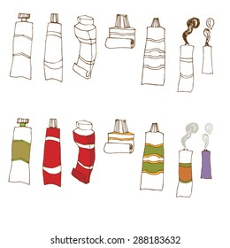 Set with different hand drawn toothpaste tubes. Vector illustration