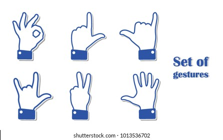 Set of different hand gestures. Flat signs shown with palm and fingers. Non-verbal or manual communication, emotional expressions, body language. Vector illustration. Isolated