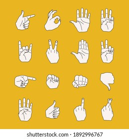 Set of different hand gestures and signals. Ok, stop, thumbs up, thumbs down, fist, pointing, victory, rock n roll signs. Cute hand drawn vector flat cartoon style illustration.