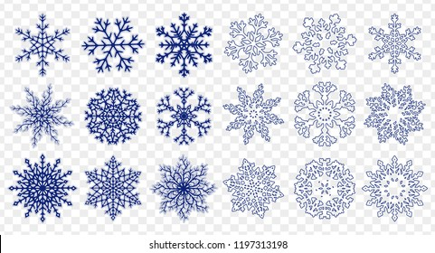 Set of different handdrawn flat and linear snowflakes isolated on transparent background. Vector illustration.