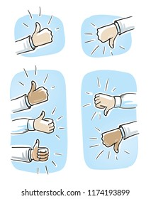 Set of different hands showing thumb up or down, concept for like or dislike. Hand drawn cartoon sketch vector illustration, whiteboard marker style coloring.