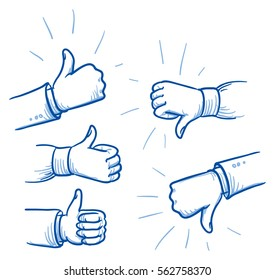 Set of different hands showing thumb up or down, concept for like or dislike. Hand drawn line art cartoon vector illustration.