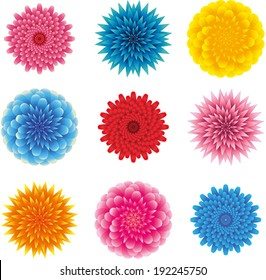 set of different heads of flowers, top view, fluffy, lots of leaves, pointed and rounded petals, pink, blue, yellow and red on a white background