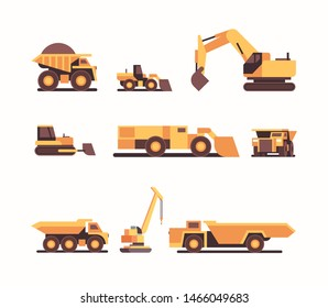 set different heavy yellow industrial machines. coal mine production. professional equipment mining industry transport concept flat.