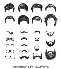 Set of different Hipster haircuts, beards, glasses, bowtie and pipe