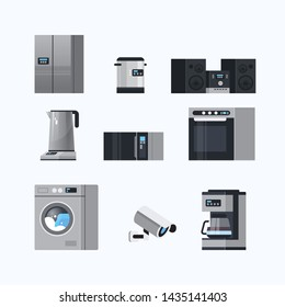 set different home appliances electric house equipment collection flat white background