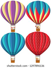 Set of different hot air balloon illustration