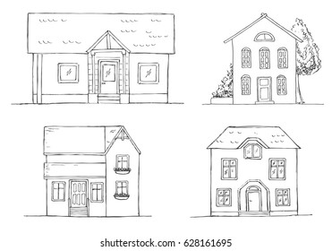 Set of different houses. Vector illustration in a sketch style.