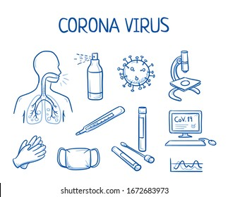 Set of different icons of corona virus infection, testing and prevention: gloves, testing tubes, respiratory mask, disinfectant and computer. Hand drawn line art cartoon vector illustration.