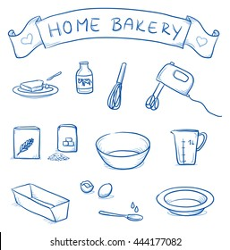 Set of different icons for home bakery. With butter, milk, mixer, flour, egg, sugar, bowl.  Hand drawn cartoon vector illustration.