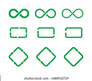 Set of different icons representing recycling and circulation. Recycle symbol sign set. Infinite loop icon. Rhombus with arrows. Rectangle with arrows. Vector illustration, flat style, clip art.